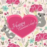 Blom- valentindagkort med gulliga koalor Royaltyfri Fotografi