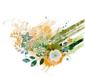 blom- vattenfärg för bakgrund Arkivfoto