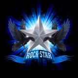 blom- vattenfärg för stjärna för rock för grungemikrofonprydnad Arkivfoton