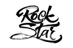 blom- vattenfärg för stjärna för rock för grungemikrofonprydnad Modern kalligrafihandbokstäver för serigrafitryck Royaltyfri Foto
