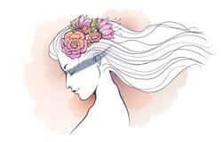 Blom- vattenfärgförkylning för flicka Arkivfoto
