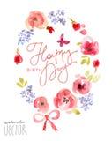 Blom- vattenfärgram för lyckönskan Royaltyfria Foton