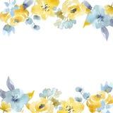 Blom- vektorram för vattenfärg royaltyfri illustrationer