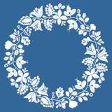 Blom- vektorram för vit krans som isoleras på marinblå bakgrund stock illustrationer