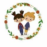 Blom- virvla med gladlynta barn vektor illustrationer