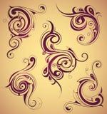 Blom- virvlar som designbeståndsdelar stock illustrationer