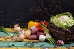 Blomkål med variation av rå organiska grönsaker Sund mat, vegetarian bantar Slut upp av nya matlagningingredienser Royaltyfri Foto
