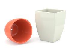 Blomkruka för keramik två, framförda modeller Arkivbilder