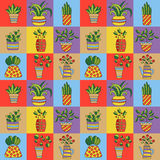 Blomkrukahuset planterar den sömlösa vektormodellen för klotter stock illustrationer