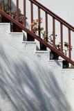 Blomkrukor på trappan Fotografering för Bildbyråer