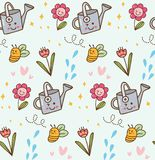 Blomma blomman i kawaiistilbakgrund vektor illustrationer