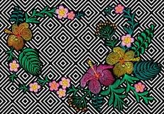 Blomma broderi på svart vit sömlös bandbakgrund Palmblad för hibiskus för plumeria för modetryckgarnering Tropisk exot vektor illustrationer