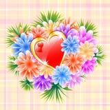 Blomma buketten med röd förälskelsehjärta Royaltyfri Bild