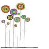 Blomma den flerfärgade roliga drog klottervektorn för stil handen vektor illustrationer