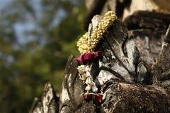 Blomma erbjudande hänga på en buddistisk tempel, nordliga Thailand Arkivbilder