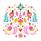 Blomma-, fågel-, champinjon- & för snigelteckennatur vektorillustration Arkivbild