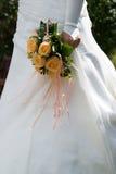 blomma för bruddetaljklänning Arkivfoto