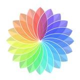 Blomma för färgregnbågehjul på vit, materielvektorillustration vektor illustrationer