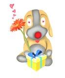 Blomma för hunddockaHolding och gåvaask Royaltyfri Fotografi