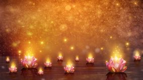 Blomma för Lotus Float vattenlotusblomma på orange bakgrund royaltyfri illustrationer