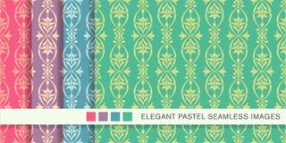 Blomma för ram för kors för kurva för sömlös pastellfärgad bakgrundsuppsättning oval royaltyfri illustrationer