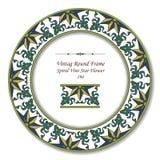 Blomma för stjärna för vinranka för ram 194 för tappning runda Retro spiral Arkivfoton