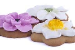 Blomma formade pepparkakakakor på vit bakgrund Royaltyfri Fotografi