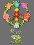 Blomma fred och älska symbolet, skriftliga affischaktier för hand Fotografering för Bildbyråer