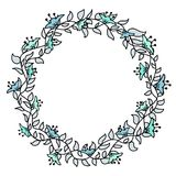 Blomma hand-dragen försiktig ram på en vit bakgrund Royaltyfria Foton