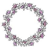 Blomma hand-dragen försiktig ram på en vit bakgrund Royaltyfri Foto