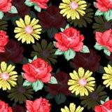 Blomma handen som drar den sömlösa modellen, blom- bakgrund för vektorn, blom- broderiprydnad Röd rosblomma för utdragna knoppar Fotografering för Bildbyråer