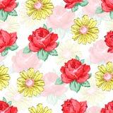 Blomma handen som drar den sömlösa modellen, blom- bakgrund för vektorn, blom- broderiprydnad Röd rosblomma för utdragna knoppar Royaltyfria Bilder