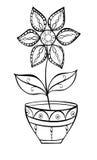 Blomma i ett krukaklotter vektor illustrationer