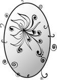 Blomma i oval ram vektor illustrationer