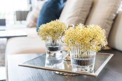 blomma i vas i vardagsrum Royaltyfri Bild