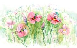 blomma lawn stock illustrationer