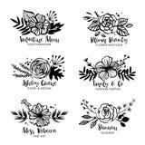 Blomma Logo Template Blom- botanisk samling Blommor kli vektor illustrationer