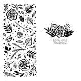 Blomma Logo Template Botanisk samling för blom- anmärkningar Blommor royaltyfri illustrationer