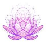 blomma lotusblomma Invecklad stiliserad linjär teckning på vit bakgrund Arkivbild