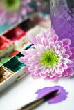 blomma målarfärgvattenfärgen Arkivbilder