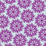 Blomma Mandala Seamless Pattern - blått och lilor Royaltyfri Bild