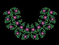 Blomma med blad- och prickbroderihäftklammerefterföljd på blen royaltyfri illustrationer