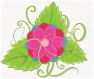 Blomma med bladillustrationen stock illustrationer