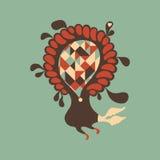 Blomma med färgrika fyrkanter och trianglar inom Royaltyfria Bilder