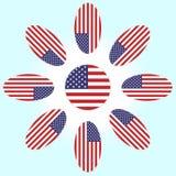 Blomma med kronblad av amerikanska flaggan vektor illustrationer