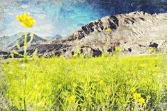 Blomma med mountian, Leh Ladakh, Indial Digital Art Impasto Oi royaltyfri foto