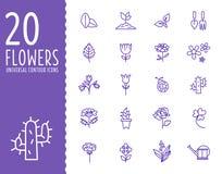 Blomma och arbeta i trädgården hjälpmedelsymboler med vit Arkivbild