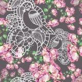 Blomma och fågel, vattenfärg som är handgjord Royaltyfria Bilder