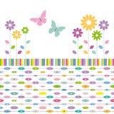 Blomma- och fjärilshälsningkortet på färgrika ellipser gör sammandrag bakgrund Arkivbild