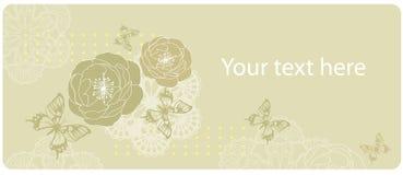 Blomma- och fjärilskort Arkivbild